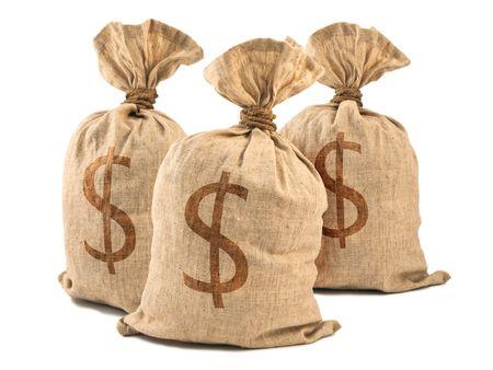 pieniądze: Worki pieniądze z symbolem złotych, odizolowane na białym tle.