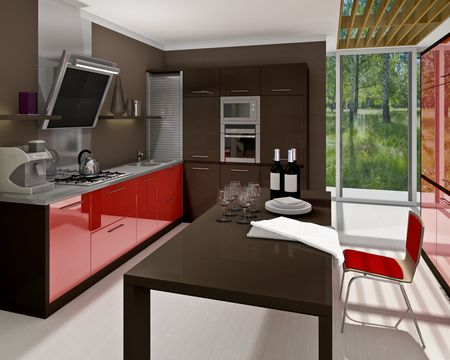 A modern kitchen interior. Made in 3d Stock Photo - 5681067