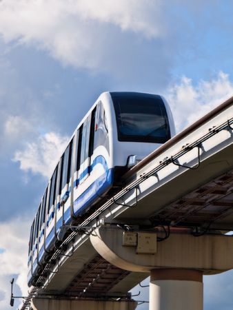 by turns: The Moscow city public transport monorail railway Stock Photo