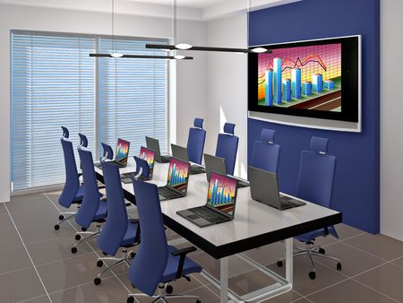 Room for negotiations and meetings. Made in 3D. Stock Photo - 6055292