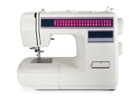 Modern electric sewing machine. Isolated on white Stock Photo