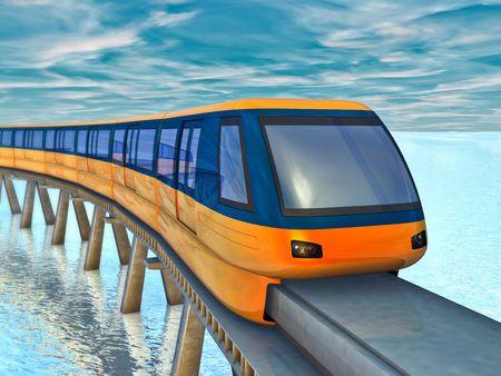 Futuristic monorail train on a background of sea and sky.