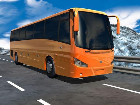 Orange tour bus on highway. No trademarks