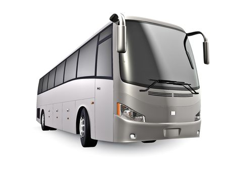 3D tour bus isolated on white. No trademarks