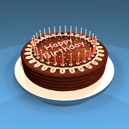 Chocolate cake decorated with candles. Made in 3d.
