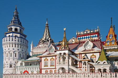 Izmailovskiy Kremlin in Moscow, old-fashioned russian architecture