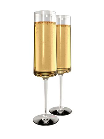 Two Flutes of Champagne on white Background. 3D rendered. Stock Photo - 6482544