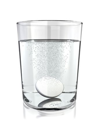 Tablet in a glass of water. 3D rendered.