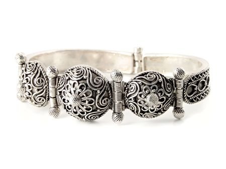 Close up of a old silver bracelet Stock Photo