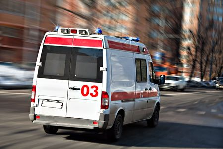 hastens: The ambulance car hastens for the aid