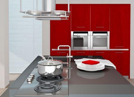 Fragment of modern kitchen interior. 3D rendered. Stock Photo