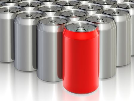 Many aluminum cans with a drink. 3D rendered. Archivio Fotografico