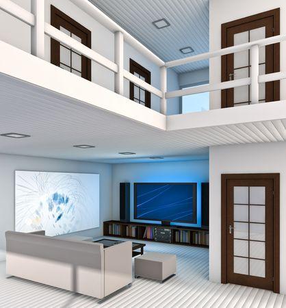 Modern Living Room interior. Made in 3D. Archivio Fotografico