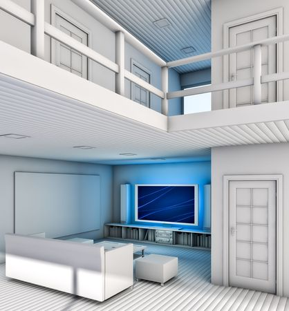 Modern Living Room interior. Made in 3D. Stock Photo