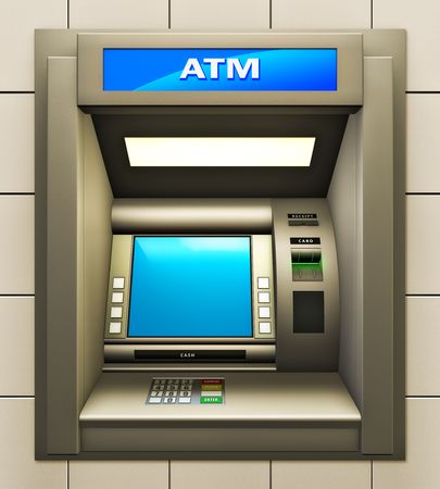 Illustratie van de geld automaat. Gemaakt in 3d.