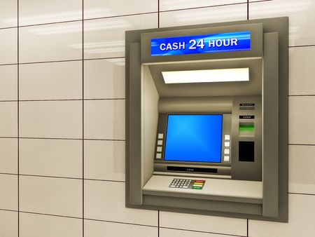 Illustration of cash machine. Made in 3d.