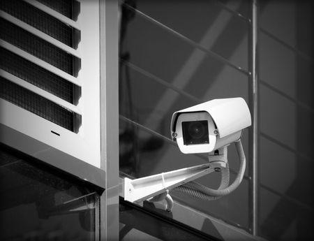 Surveillance camera is mounted on a facade