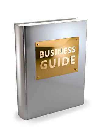 manual: 3D illustration of textbook on business.