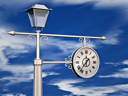 3D illustration of antique clock on sky background. illustration