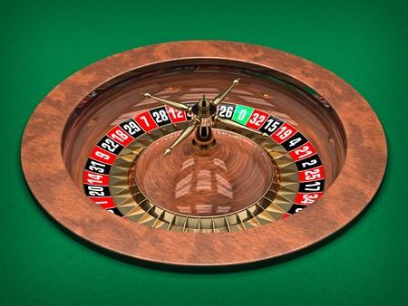 Illustration of Casino Roulette Wheel. 3D rendered. Archivio Fotografico