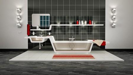 3D Illustration of modern bathroom interior. Archivio Fotografico