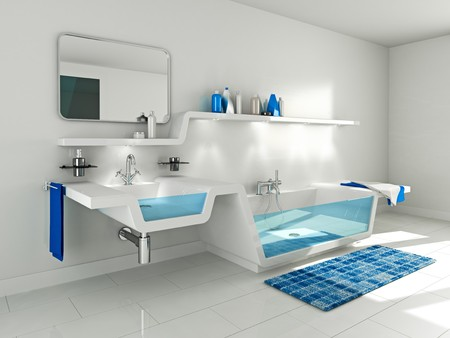 3D Illustration of modern bathroom interior. Stock Photo