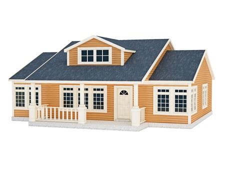 fachadas de casa: Ilustraci�n 3D de la peque�a casa, aislado en blanco