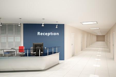 Ilustración 3D de la sala de oficina moderna