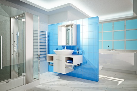 Ilustración 3D de baño moderno interior
