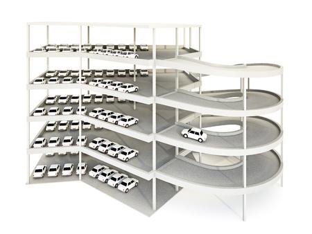 multilevel: illustrazione 3D di parcheggio multilivello. Archivio Fotografico