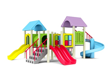 playgrounds: 3D Illustration of motley playground on white background