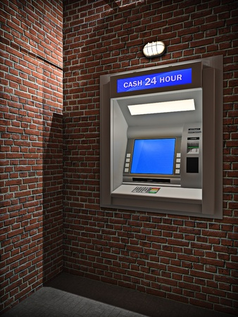 3d illustration of outdoors cash machine in night. Stock Photo