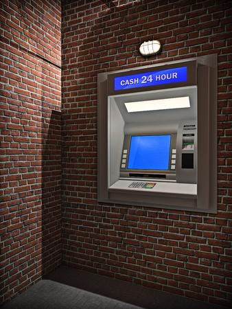 3d illustration of outdoors cash machine in night. Archivio Fotografico