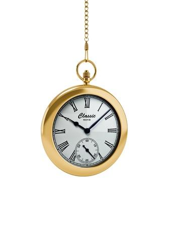 3d illustration of gold pocket watch on white illustration