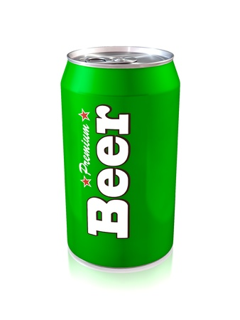 aluminum cans: 3d illustration of one green beer can