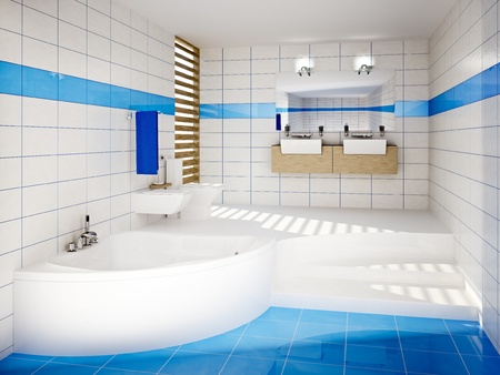 bathroom interior: 3D Illustration of the modern bathroom interior Stock Photo