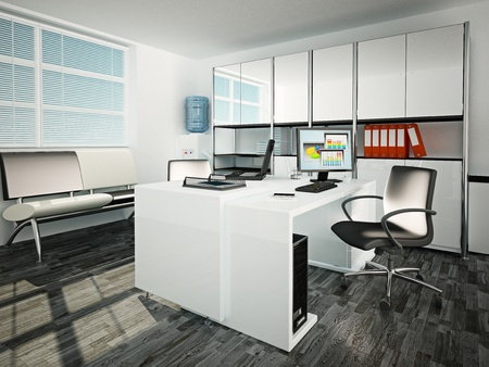 mobiliario de oficina: Ilustraci�n 3D de lugar de trabajo en la sala de Oficina