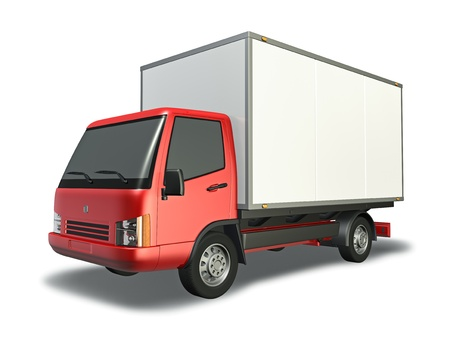 3d Illustration of red small truck Stock Photo