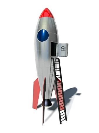 3d illustration of stylized rocket on white background