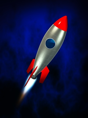 3d illustration of stylized rocket ship