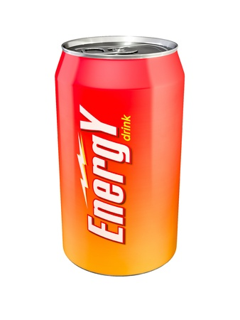 Aluminum Energy Drink Can, isolated on white photo
