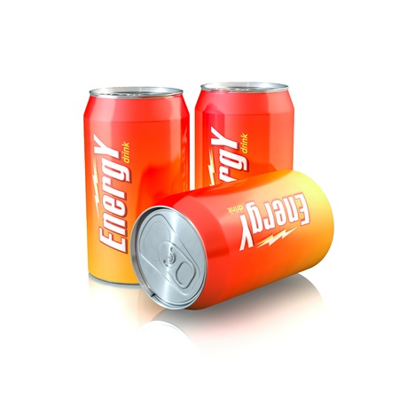 aluminum cans: 3d illustration of Aluminum Energy Drink Cans Stock Photo