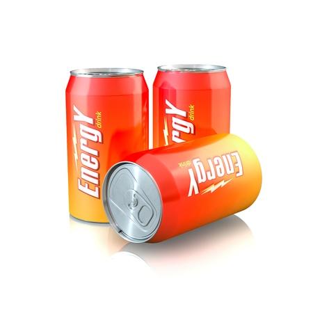 3d illustration of Aluminum Energy Drink Cans Archivio Fotografico