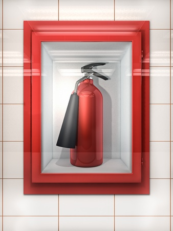 Fire Extinguisher in red Cabinet on Wall Stock Photo