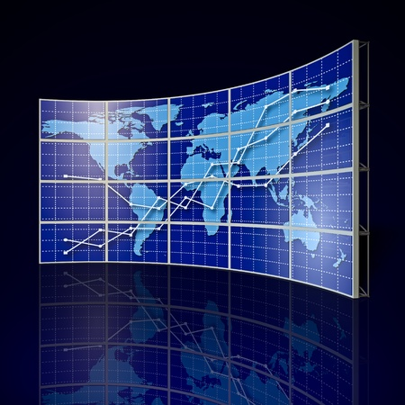 technology collage: video wall with world map and abstract graph