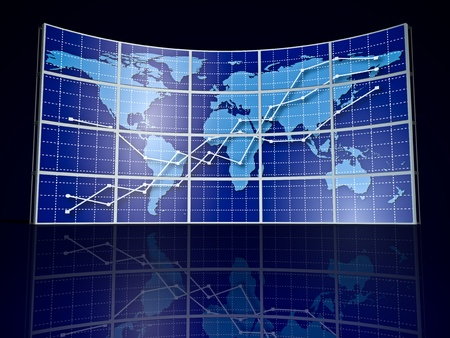 video wall with world map and abstract graph Stock Photo - 8694904
