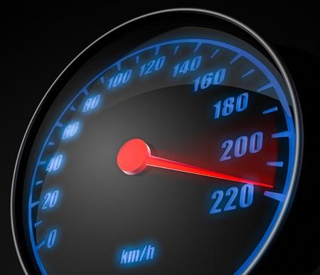 3d illustartion of abstract car speedometer