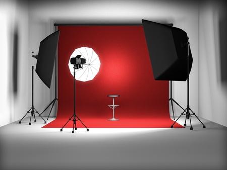 3d illustration of empty photo studio illustration