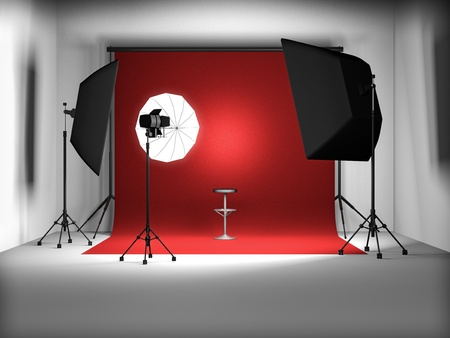 photo studio background: 3d illustration of empty photo studio