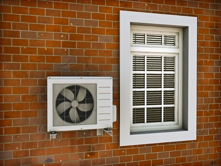 Air conditioning heat pump mounted on brick wall. 3d render.